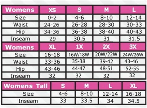 pant sizes chart for search ft