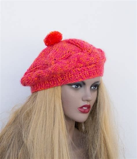 knitted beret pink orange knit hat womens knit hats knitted hat knit