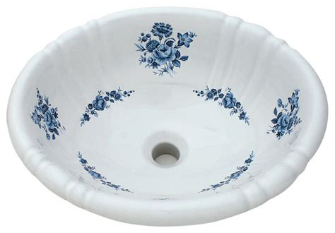 hand painted bathroom sinks blue amaranth hand painted sink traditional bathroom