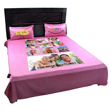 personalized happy family photo bedsheet with pillow covers