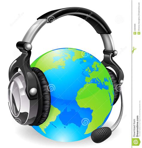 world cus help desk help desk headset world globe royalty free stock image