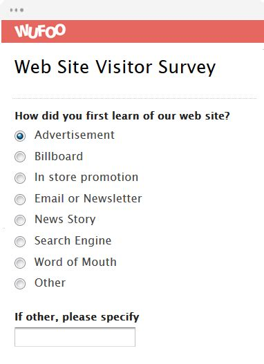 Website Survey Questionnaire - online form template wufoo