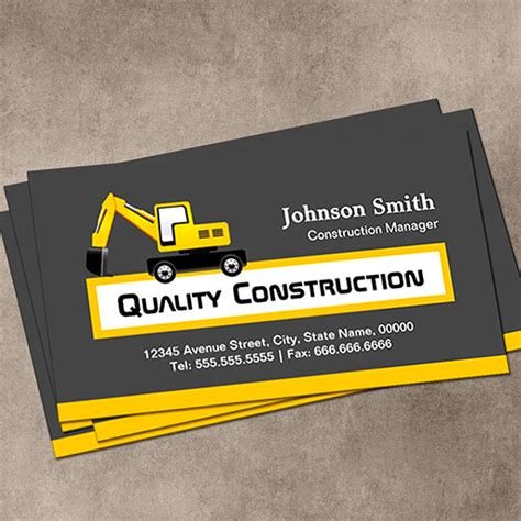 excavating business card templates quality construction company yellow pack of