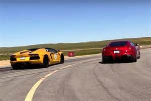 Lamborghini Vs Ferari A F12 And Lamborghini Aventador Roadster Hit