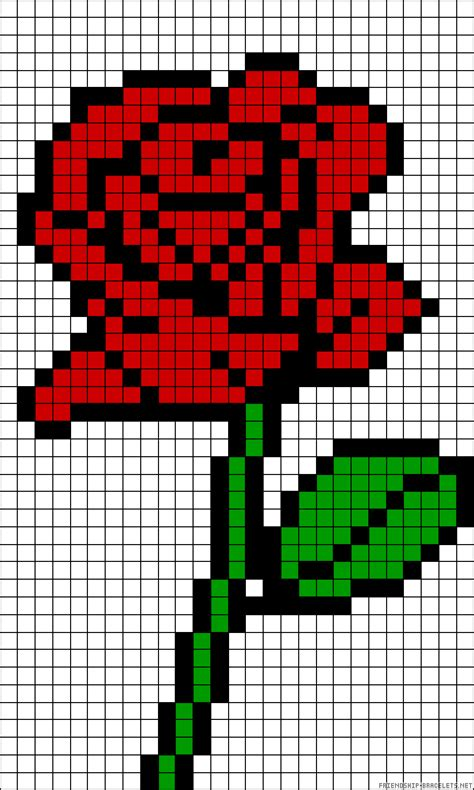 rose perler bead pattern graphed bead patterns