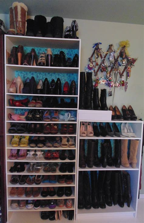 White Bookcase Tall Diy Custom Shoe Shelves On A Budget Glamour Harvest