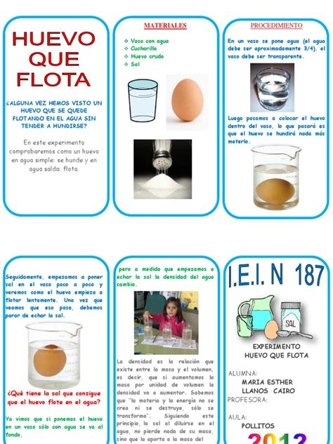 experimento infografia del huevo en agua salada huevo flota triptico