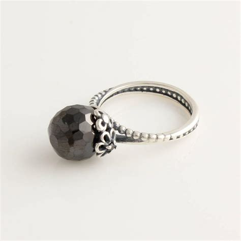 hotsale rip024 black pearl flower ring