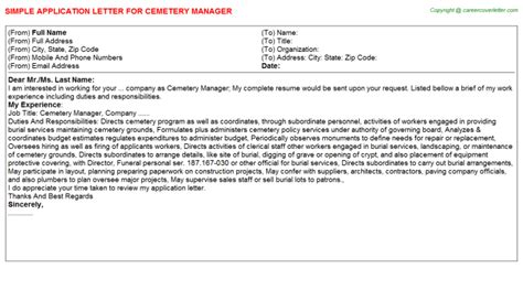 Cemetery Manager Cover Letter by Cemetery Manager Title
