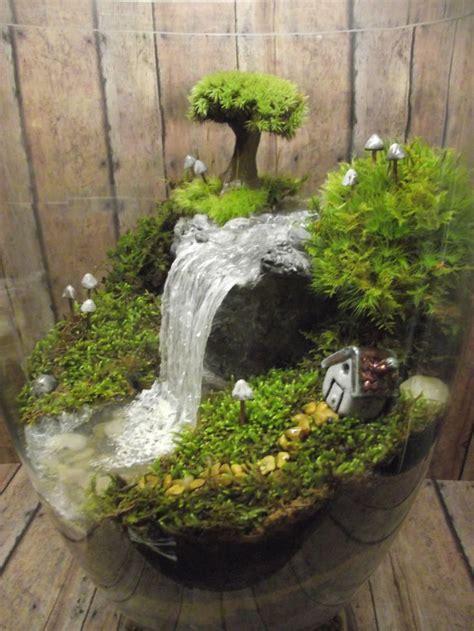 Handmade Terrarium - amazing waterfall terrarium with raku fired miniature