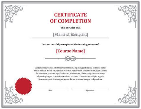 completion certificate template free 7 certificates of completion templates free