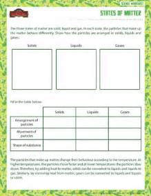 states of matter printable sixth grade physical science