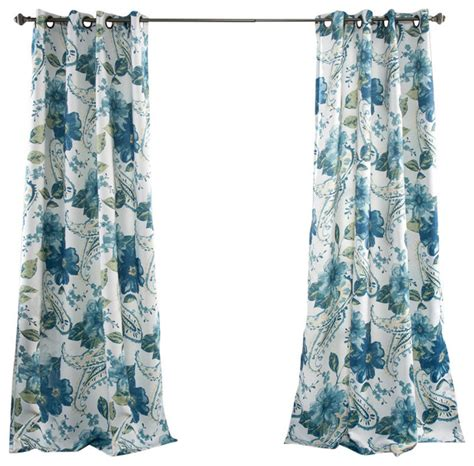Blue Paisley Curtains Floral Paisley Window Curtain Set Blue Curtains By Lush Decor