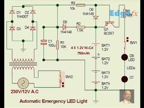 Rechargeable Led L Circuit Diagram by Automatic Emergency Led Light Circuit Diagram