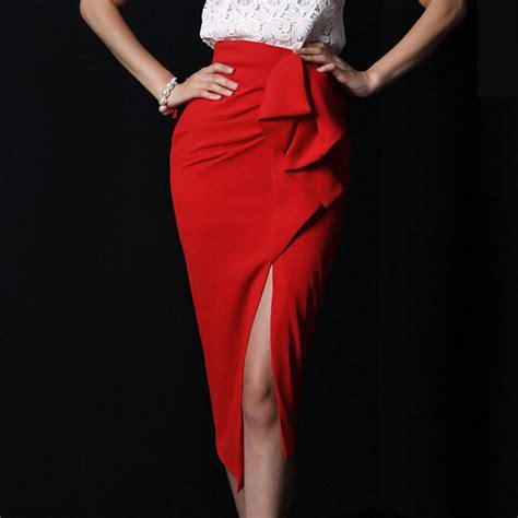 Side Slit Maxi Pencil Skirt saias femininas khaki maxi skirt with slits