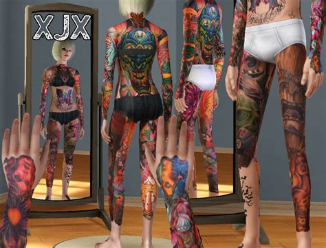 full body tattoo the sims 3 mod the sims oldschool newschool full body suit tattoo
