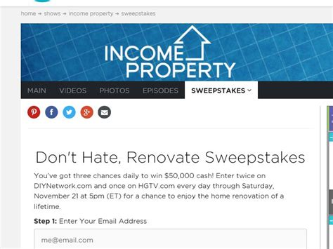 Dont Hate Renovate Sweepstakes - hgtv don t hate renovate sweepstakes