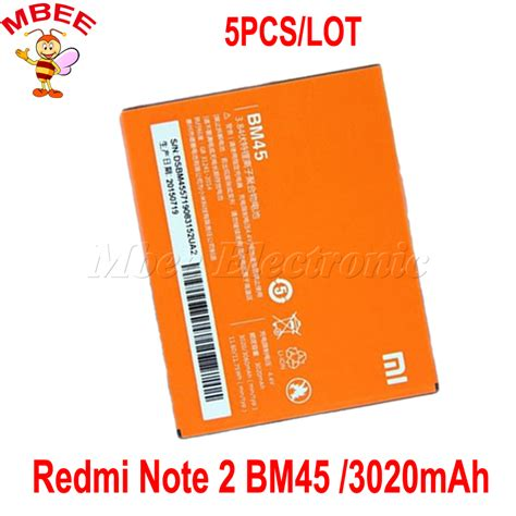 Replacement Battery For Xiaomi Redmi Note 2 3020mah Original Bm45 1 5pcs lot for xiaomi redmi note 2 battery bm45 3020mah original replacement battery for hongmi