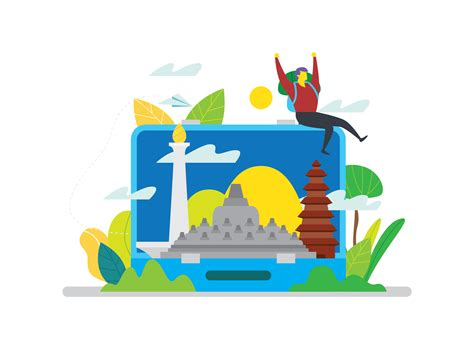 indonesia landmark  vector art   downloads