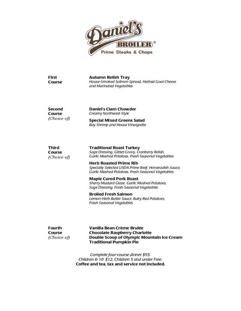 business menu template business thanksgiving menu template free