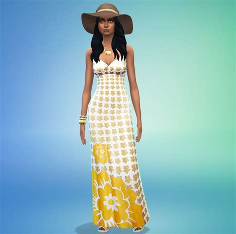Maxi Flowery mod the sims flowery maxi dress maxis recolor