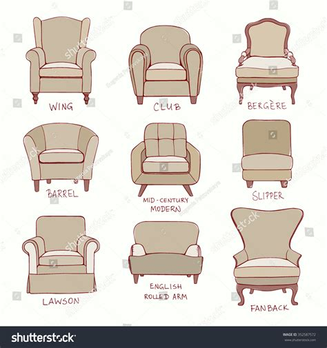 types of armchairs vector visual guide accent chair design stock vector