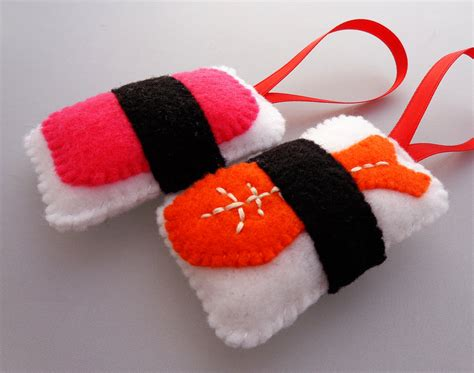felt sushi christmas ornaments ebi shrimp spam musubi