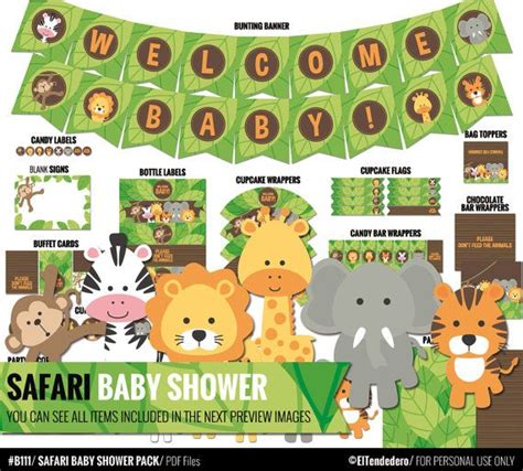 Safari Jungle Baby Shower Decorations by Safari Baby Shower Decorations Package Printable Jungle