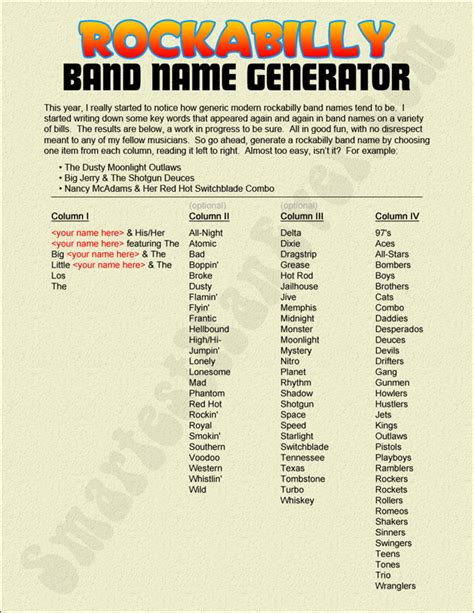 name generator band names list related keywords band