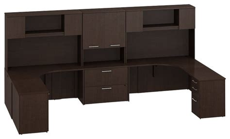 two person corner desk bush 300 series 13 2 person corner workstation in mocha