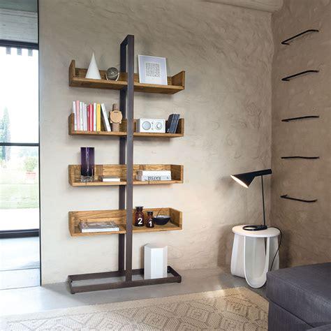 mensole metallo libreria con mensole in olmo e metallo mod libra design