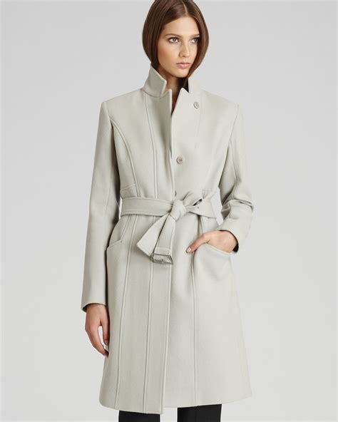 Wool Belted A Line Coat From Ms by Lyst Reiss Tropez Belted Wool Coat In Gray