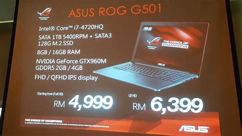 Asus Gaming Laptop Price In Malaysia asus malaysia introduces the rog g501 g751 and gl552 gaming notebooks and g20 compact gaming pc