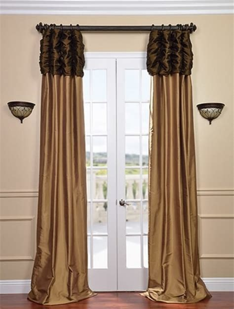 brown and gold curtains ruched thai silk curtain chocolate brown header brown