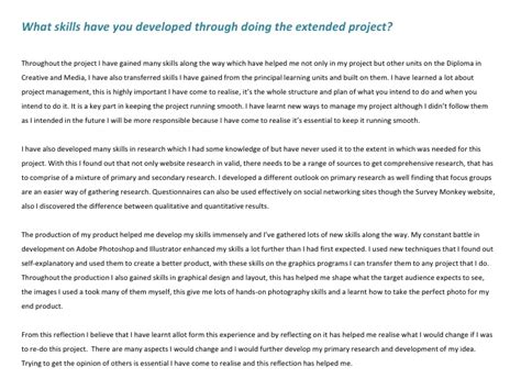 review structured reflective template extended project evaluation ao4 evaluating the project