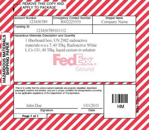 Hazardous Materials Resources Fedex Hazmat Shipping Papers Template