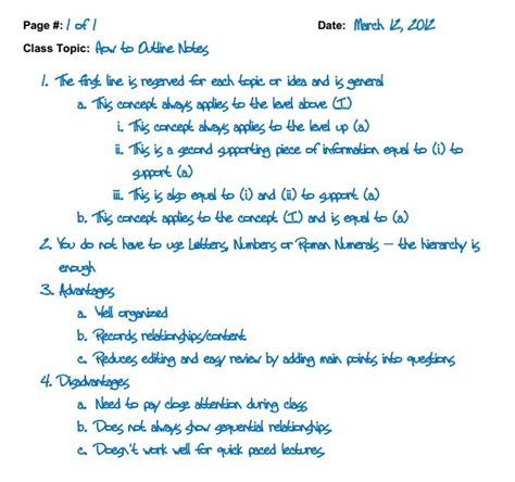 outline method note taking and study skills