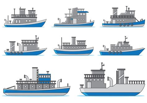 tugboat icon set of tugboat vector download free vector art stock