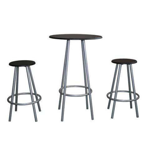 bar table and 2 black top bar stools barstoolworld