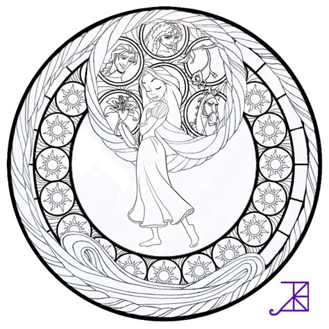Disney Tangled Rapunzel Stained Glass Line Art By Stained Glass Disney Princess Free Coloring Sheets