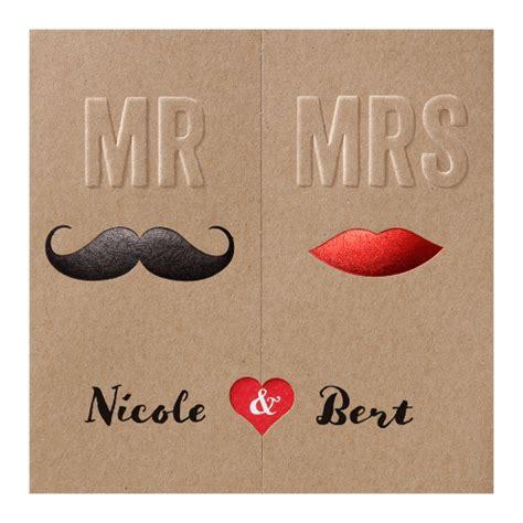 Hochzeitseinladung Zum Aufklappen by Witzige Hochzeitskarte Mr Mrs Aus Naturkarton Zum