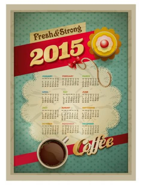Shops That Sell Calendars 2015 Calendar Design Template Vector Cup Of Coffee And