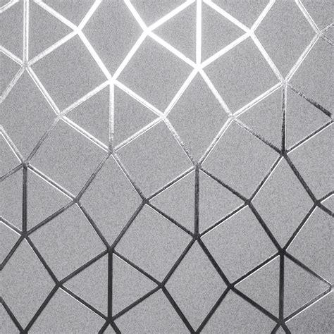 fine decor platinum siver grey metallic foil geometric