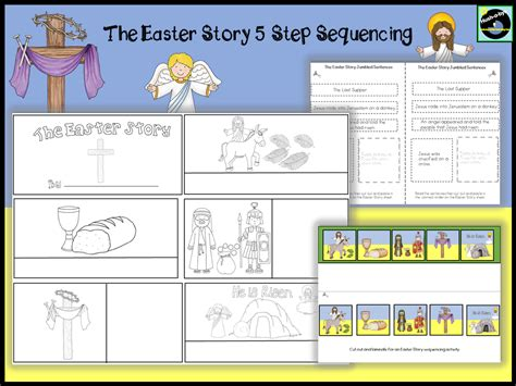easter activity book for the story of easter bible coloring book with dot to dot maze and word search puzzles the easter basket gifts and stuff for boys and books the easter story 5 step sequencing activity by janedonlan1
