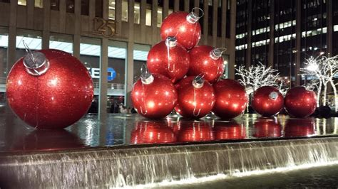 giant christmas ornaments decoration in nyc new york city and times square new years the big apple