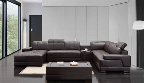 Modern Living Room With Brown Leather Sofa Divani Casa Dunkirk Modern Brown Leather Sectional Sofa