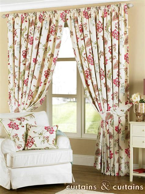 vintage flower curtains louise cream fuchsia pink vintage floral pencil pleat
