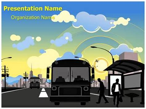 powerpoint presentation templates for transportation public transportation bus station powerpoint template