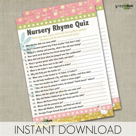 printable quiz cards instant download nursery rhyme quiz baby shower game