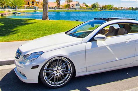 bagged mercedes e class e class mercedes benz white car gallery forgiato